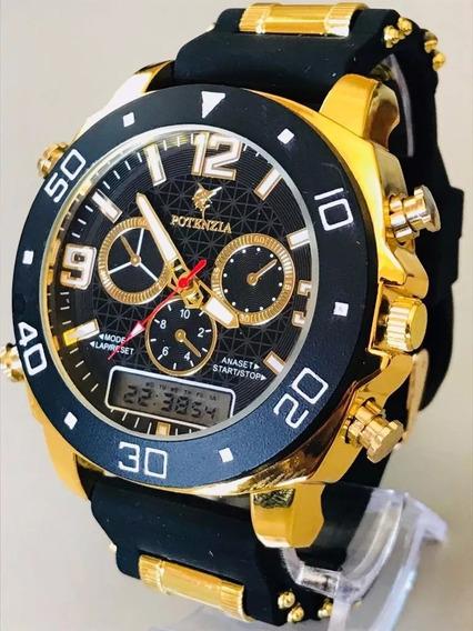 Relógio Dourado Militar Potenzia Barato + Cx Papel Atacado
