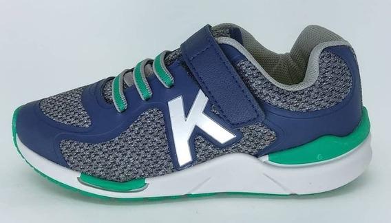 Tenis Kidy Style Velcro 097-0154-9395 Marinho/cinza/verde