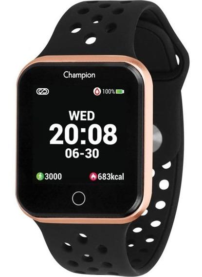 Smartwatch Champion Ch50006z Dourado Pulseira Preta