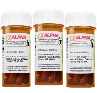Kit 3 X Alpha Axcell 30 Caps Cada Cafeína Power Supplements