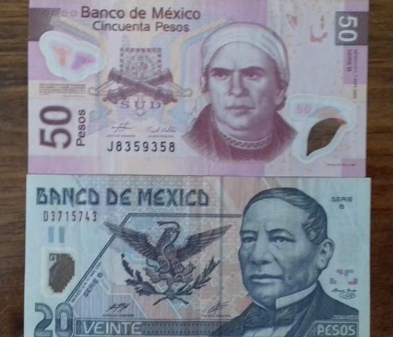 Billete Polimero 50 Y 20 Pesos Muy Bonita Condicion