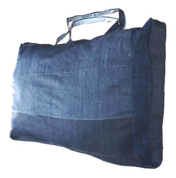 Kit 5 Sacolões Em Retalhos De Jeans Reforçado Extra Grandes