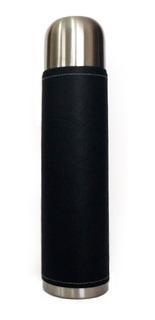 Termo Acero Inoxidable 1 Litro Forrado En Cuero Liso Negro