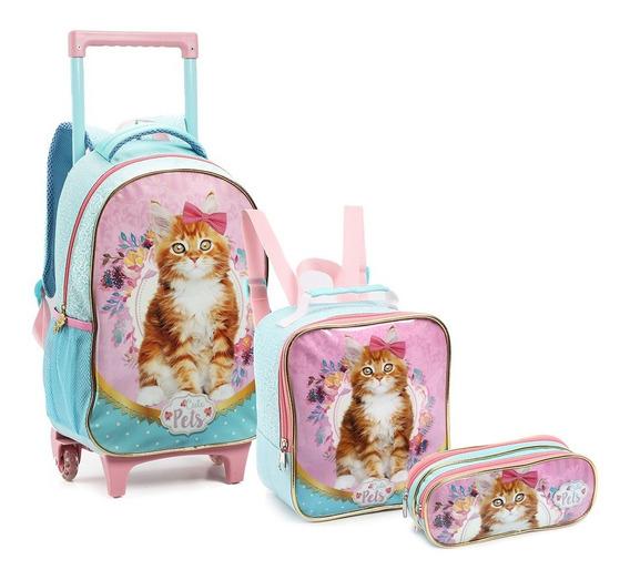 Mochila Rodinhas Infantil Menina Pets Gatinha/cachorro Nova