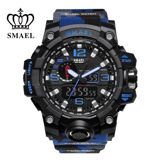 Relógio Smael 1545 Camuflado S-shock Multifuncional