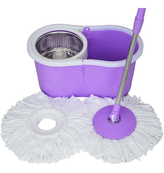 Kit Spin Mop De Limpeza Balde Com Esfregao Vassoura + Inox