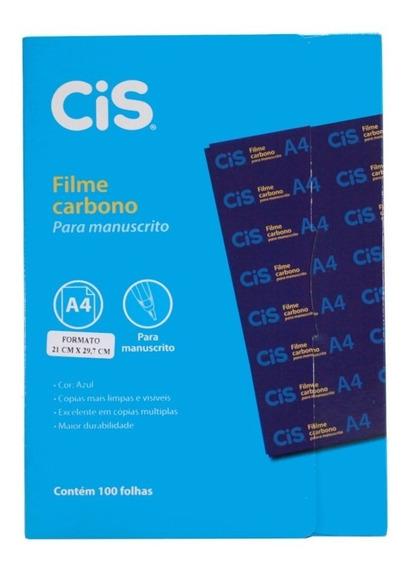 Papel Carbono Para Manuscrito Com 100 Folhas Filme Azul Cis