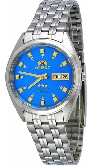Reloj Orient Automático Plateado Azul Para Hombre Fab00009l9