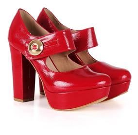 Sapato Boneca Verniz Vermelho Meia Pata E Salto Alto