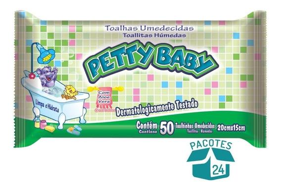 Toalhinha Umedecida Petty Baby Com 50 Un. - 24 Pacotes