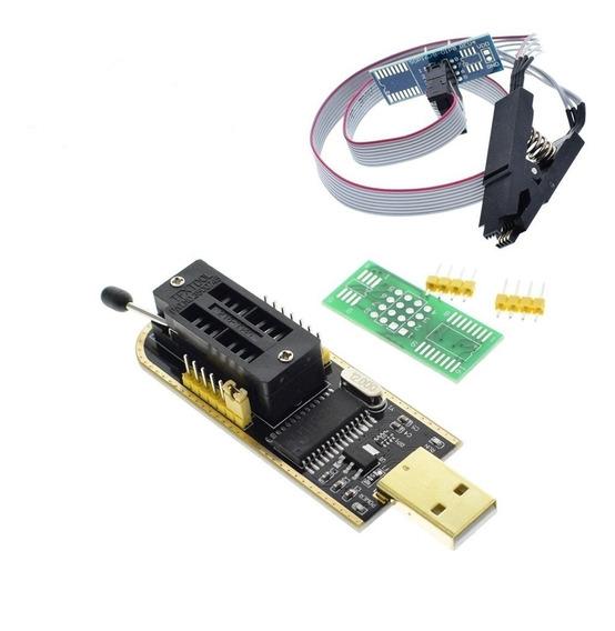 Gravador Eprom Programador Bios Flash Ch341a + Pinça Jacaré