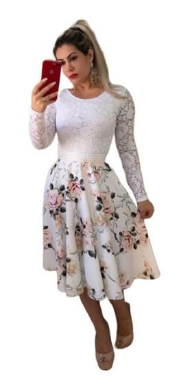 Vestido Feminino Midi Elegante Com Cinto Moda Evangélica