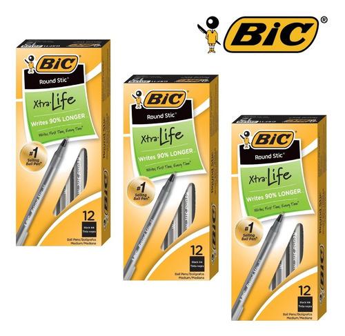 Bolígrafos Bic Round Stic Xtra Life 12 Unidades (2v)