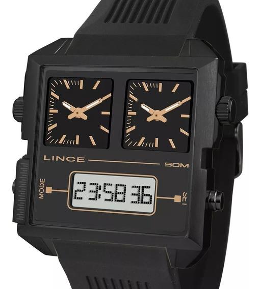 Relógio Lince Quadrado Anadigi Preto Map4588s P1px + Nota