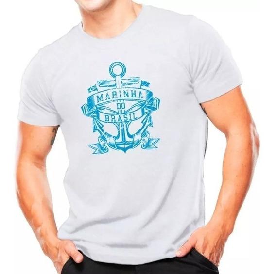 Camiseta Militar Estampada Marinha Do Brasil Branca