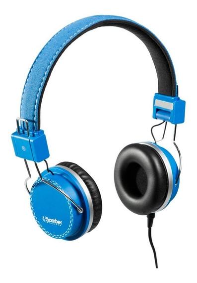 Headphone Fone De Ouvido Bomber Azul Hb02 Quake Blue