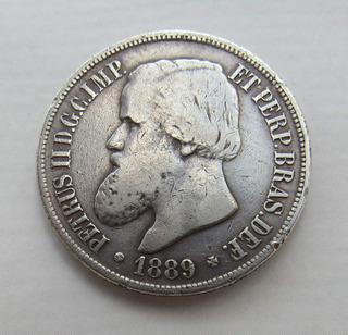 Moeda 1000 Réis 1889 Prata Petrus I I Mbc Rara Lote 013