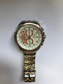Relógio Edifice Model:ef-558 Prata/dourado C/fundo Bronze