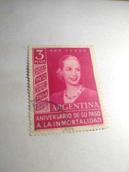 Argentina 1954 3p Eva Perón Con Filagrana Sol Rayos Rectos