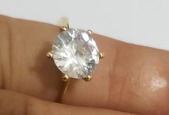 Anel Ouro 18k Com Pedra Zirconia 0.9 Mm
