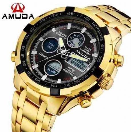 Relógio Masculino Dourado Amuda Luxo - Modelo 2002