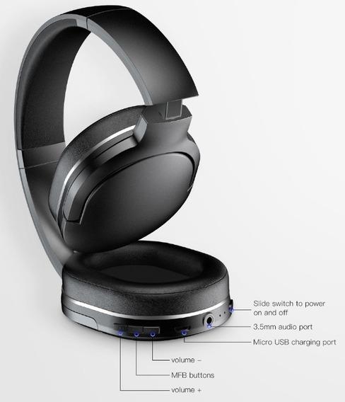 Fone Dobrável Sem Fio Bluetooth Com Microfone Baseus D02