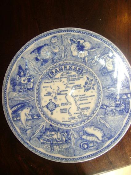 Antiguo Plato Decorativo Para Colgar Con Mapa Islas Bahamas