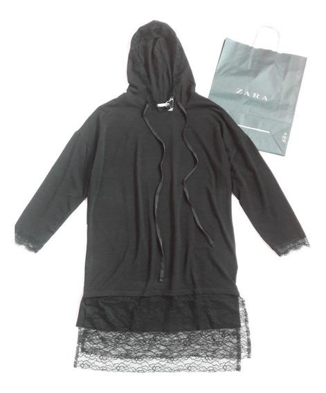 Sweater Negro Largo O Mini Vestido Marca Zara Talla M Grande