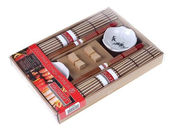 Kit 8 Peças Jogo Comida Japonesa Shoyo Hashi Sushi Bambu