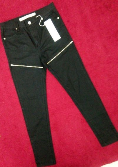 Jeans Pantalón Negro Marca Materia Original Mujer Talle 28