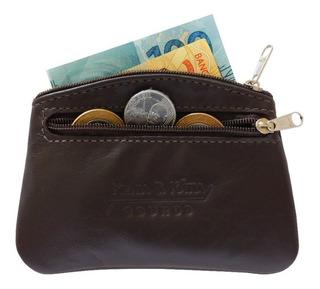 Bolsinha Couro Legítimo Porta Moedas Chaves Dinheiro Tn05f