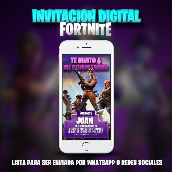 Invitacion De Fornite - Digital Personalizada Para Whatsapp