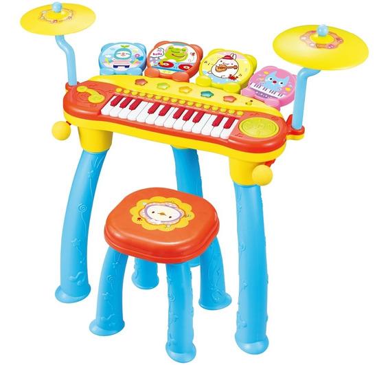Piano Dj E Bateria Infantil Teclado Karaoke Banquinho Colors