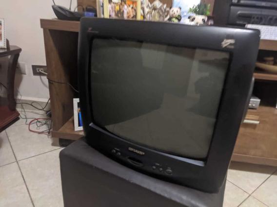 Tv Sharp 14 Colorida C/ Manual E Controle. Excelente Imagem