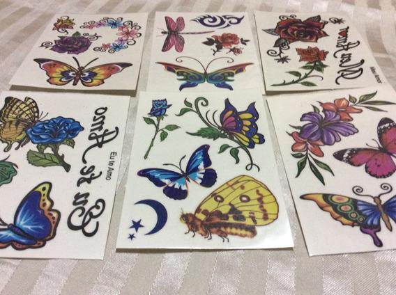 10 Cartelas De Tatuagem Temporária Feminina Colorida