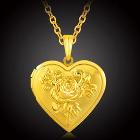 Colar Banho Ouro 18 Pingente Coração Oco