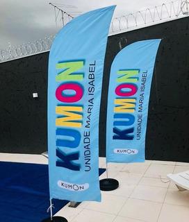 Wind Banner Fly Flag Dupla Face 3m Kit Completo Arte Gratis