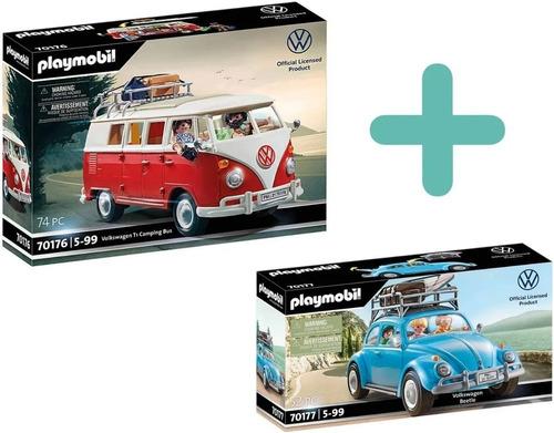 Imagem 1 de 5 de Kit Playmobil Volkswagen Edição Especial Kombi E Fusca Azul