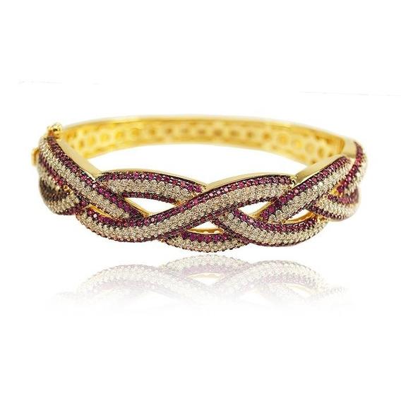 Bracelete Maravilhoso Rubis Zirconias Com Certificado