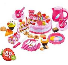 Bolo Aniversário Brinquedo De Cortar 80 Peças Cozinha Comida
