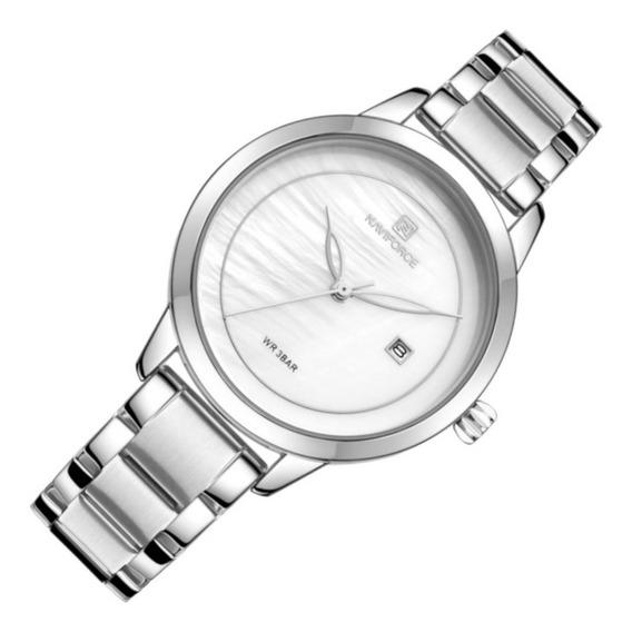 Relógio Feminino Naviforce 5008 Resiste Água Prata