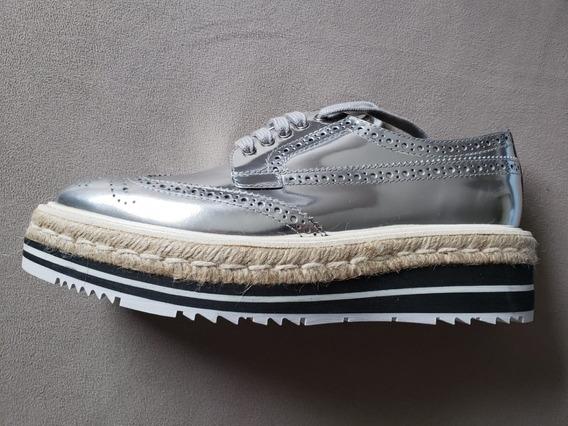 Sapato Prada Feminino Leather Flatform Oxford Prata 35/36