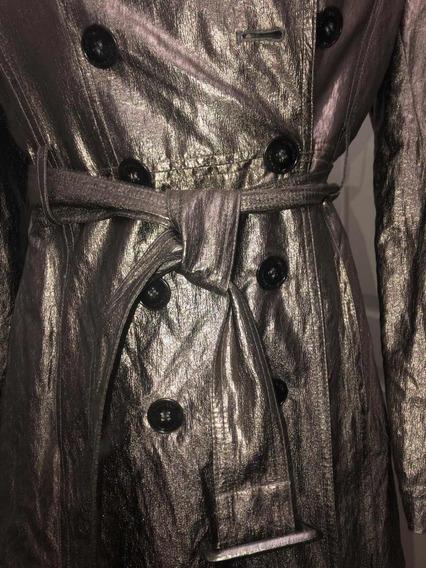 Gabardina Calvin Klein Pweter Plata Metalica Brillosa