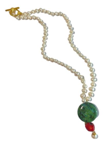 Collar Gargantilla De 35 Cm De Perlas Nat Crisocola Coral
