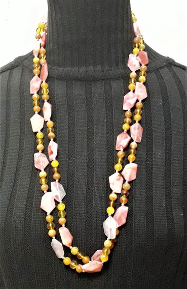 Collar Largo Rosa Ideal Para Usar Con Jeans