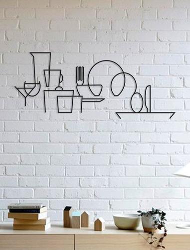 Quadro Decorativo Parede Cozinha Utensílios Minimalista 30cm