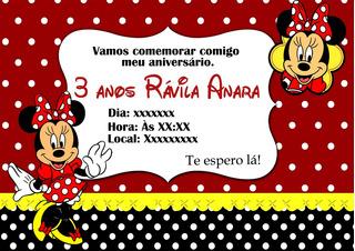 Arte Convite Digital Minnie Vermelha