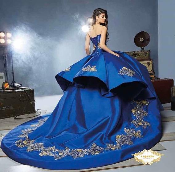 Vestido Xv Años Ragazza B54-354 Azul Rey