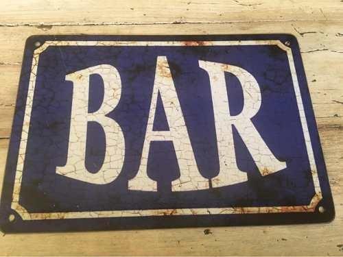 Cartel Chapa Bar Tipo Antiguo Almacén Boliche Barbacoa