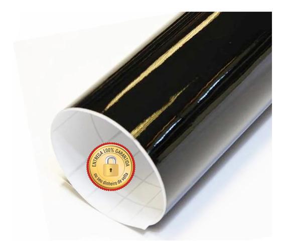 Papel Adesivo Contact Preto Brilho 45 Cm X 10 Metros